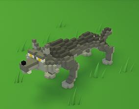 Voxel cartoon wolf game ready 3D asset