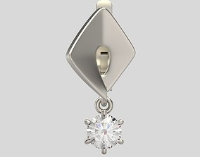 silver 3D print model Earrings with gems