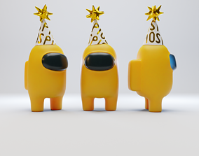 Among Us Yellow Party Hat Character 3D model