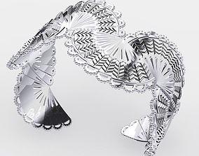 Silver Fan Cuff 3D print model