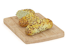 Buns with Sesame Seeds on Wooden Board 3D