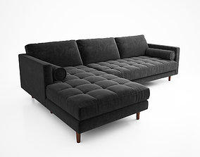 3D Swen Shadow Gray Left Sectional Sofa by Article