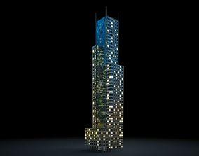 Lit Skyscraper At Night 3D model