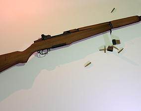 3D asset Lowpoly Garand M1 Rifle and Ammo