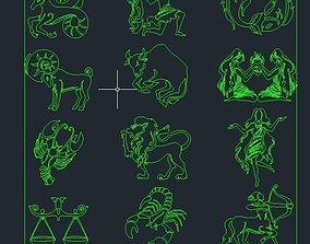 2d zodiac sign block 3D asset