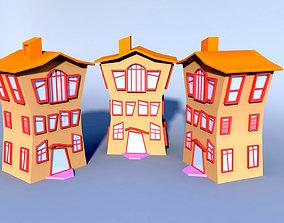 3D asset Colorfull cartoon building