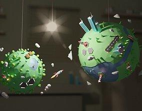 2 Cartoon Mini Planets 3D asset