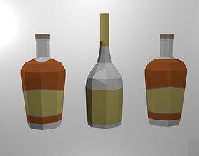 3D model realtime Low Poly Liquor Bottles