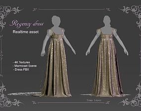 Regency dress 3D model VR / AR ready
