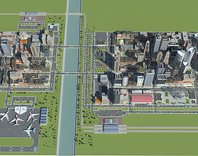3D asset Realistic Lowpoly Simple City