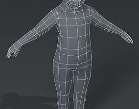 Fat Boy Kid Body Base Mesh 3D Model 1000 game-ready