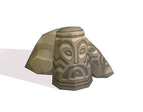 Handpaint Cartoon Stone Memorial Totem 3D model