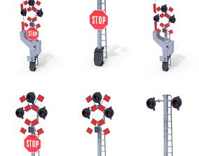 Rail Crossing Traffic Light Pack 1 3D model