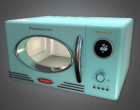 3D Retro Microwave Midcentury Collection PBR Game Ready