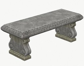 Stone Bench PBR Game Ready 3D asset