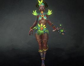Low Poly Voodoo Priestess 3D asset