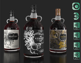 3D model Kraken Rum Original Label Bottles Set