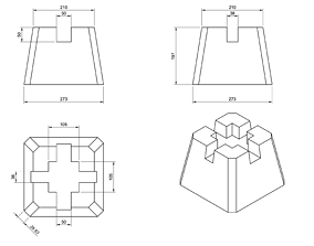 Set of models for printing deck block casting molds 3D