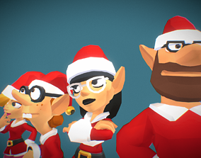 3D asset rigged Santas Elves - Toon Series