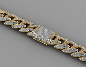 Miami cuban link chain bracelet with 3D print model 1