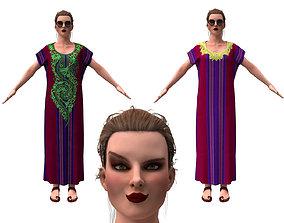 3d realistic female with clothing arabic faracha