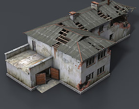 Wrecked House with Interior Low Poly 3D model