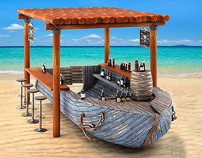 3D Rusty boat Vessel ship bar restaurant beach ocean