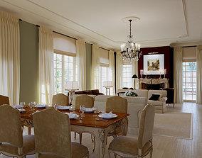 3D model Liveroom dining room cottage