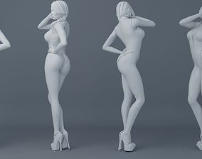 Ponytail hair girl wear bikini 003 3D printable model