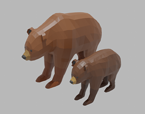 Cartoon Bear Family 3D model