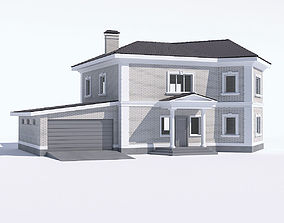 3D model Classic country house with garage