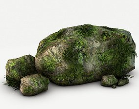 3D model Mossy rocks and plants