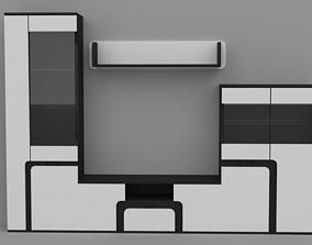 3D Living room modern tv-set stand wall wenge