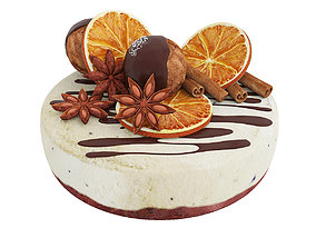 Cake with dried orange and anise 3D