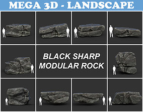 Low poly Black Sharp Modular Rock 3D model