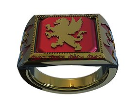 3D print model Ring with griffin and gargoyles