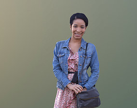 Yanelle 10384 - Black Woman Standing With Bag 3D asset