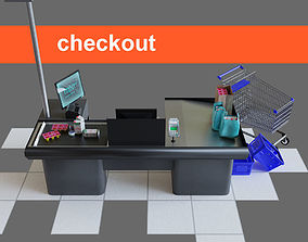 Checkout counter desk for grocer supermarket 3D model 1