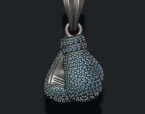 boxing gloves pendant with gems 3D print model silver