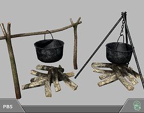 3D asset game-ready Bonfire