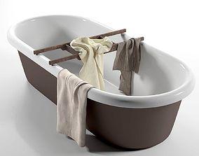 3D Linen Herringbone Towels and Bathtub