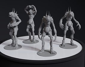 Alien Humanoid Concept 4 posed printable models