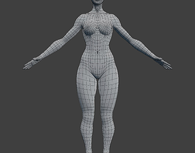 Woman Character Base Mesh Rigged 3D model