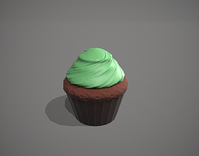 3D asset Mint Chocolate Cupcake