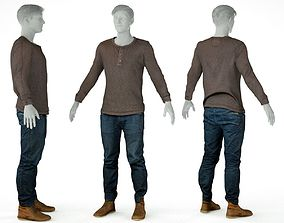 3D asset Male Casual Outfit 6 Top Trousers