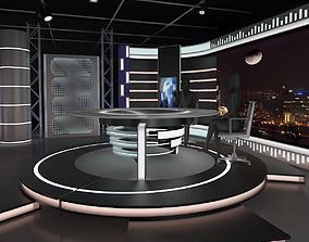 3D model Virtual TV Studio News Set 11