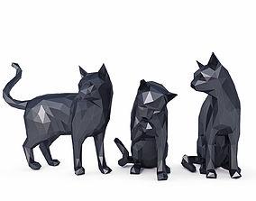 Cats Low Poly 3D asset