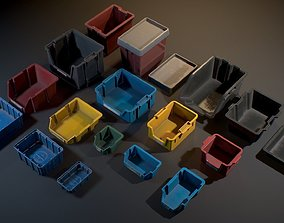 Storage Plastic Crates - Game ready props 3D model
