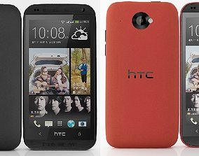 HTC Desire 601 Dual Sim Black and Red 3D model