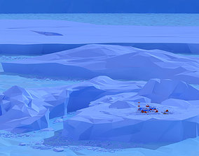 3D asset Icescape With Station Lowpoly Style